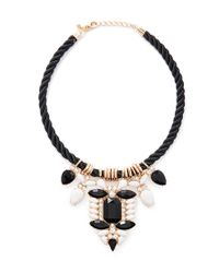 Forever 21 | Black Faux Gem Statement Necklace | Lyst