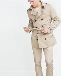 Zara | Natural Double-breasted Trench Coat for Men | Lyst
