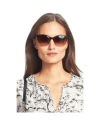 Diane von Furstenberg | Brown Demi Studded Cat Eye Sunglasses | Lyst