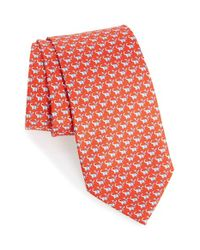 Ferragamo | Red Elephant & Bird Print Silk Tie for Men | Lyst