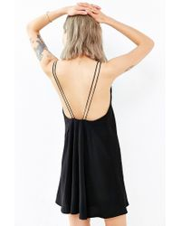 Silence + Noise - Black Woven Deep-V Strappy-Back Dress - Lyst