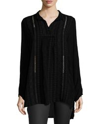 Johnny Was - Black Floral-embroidered Pintuck Blouse - Lyst