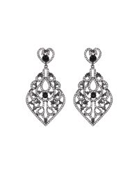 Mikey - Black Large Oval Fillagary Crystal Earring - Lyst
