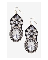 Express - Black Large Gem And Fabric Back Drop Earrings - Lyst