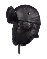 Woolrich - Black Genuine Fur Lined Leather Aviator Cap for Men - Lyst