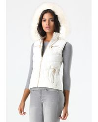 Bebe - Natural Logo Hooded Puffer Vest - Lyst