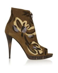 Burberry Prorsum - Brown Painted Suede Ankle Boots - Lyst
