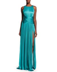 Maria Lucia Hohan - Blue Agmar Ruched Open-back Silk Gown - Lyst