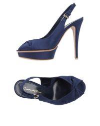 Gianvito Rossi - Blue Grosgrain Slingback Sandals - Lyst