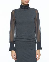 Brunello Cucinelli - Gray Chiffon-sleeve Turtleneck Top - Lyst