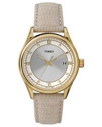 Timex - Natural Women'S Beige Lizard-Pattern Leather Strap Watch 36Mm T2P556Ab - Lyst