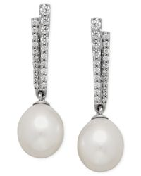 Macy's | Metallic Cultured Freshwater Pearl (10mm) And Cubic Zirconia Stick Drop Earrings In Sterling Silver | Lyst