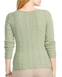 Lauren by Ralph Lauren | Green Plus Cabled Cotton Sweater | Lyst