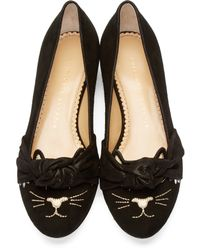 Charlotte Olympia - Black Studded Eccentric Kitty Flats - Lyst