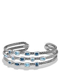 David Yurman | Metallic Confetti Narrow Cuff Bracelet With Blue Topaz And Hampton Blue Topaz | Lyst