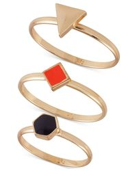 French Connection | Metallic Gold-Tone Modern Signet Ring Trio | Lyst