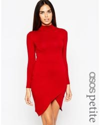 ASOS | Red Asymmetric Polo Bodycon Dress | Lyst