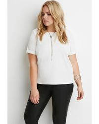 Forever 21 - Natural Textured Cuffed-sleeve Top - Lyst