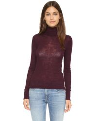 T By Alexander Wang - Purple Wooly Ribbed Fitted Turtleneck - Lyst