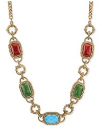 2028 | Metallic Gold-Tone Multi-Color Stone Frontal Necklace | Lyst