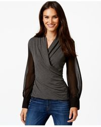 Vince Camuto | Gray Long Sleeve Mixed-media Top | Lyst