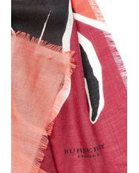 Burberry Prorsum - Pink Landscapes Print Cashmere Scarf - Red - Lyst