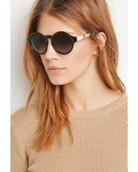 Forever 21 Black Metal Temple Round Sunglasses