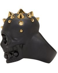 Alexander McQueen | Black Studded Skull Ring for Men | Lyst
