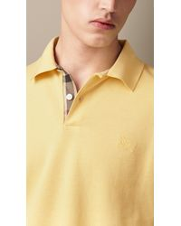 Burberry | Yellow Check Placket Polo Shirt for Men | Lyst