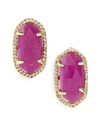 Kendra Scott | 'ellie' Oval Stone Stud Earrings - Purple/ Gold | Lyst