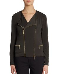 Ivanka Trump - Green Jersey Motorcycle Jacket - Lyst