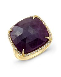 Anne Sisteron - Purple 14kt Yellow Gold Ruby Diamond Cocktail Ring - Lyst