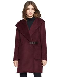 Lauren by Ralph Lauren | Purple 'Gwen' Hooded Wool Blend Coat | Lyst