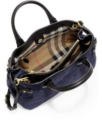 Burberry - Blue Banner Medium Suede & Leather Satchel - Lyst