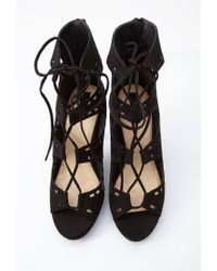 Forever 21 - Black Faux Suede Lace-up Cutout Pumps - Lyst
