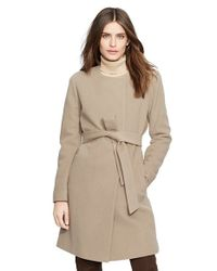 Lauren by Ralph Lauren Brown Belted Wool Blend Collarless Coat