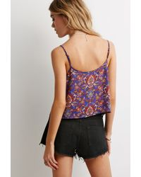 Forever 21 - Blue Paisley Print Cropped Cami - Lyst