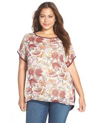 Two By Vince Camuto - Multicolor Floral Print Mixed Media Tee - Lyst