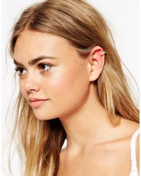 ASOS | Metallic Ear Cuff With Mini Faux Pearls | Lyst