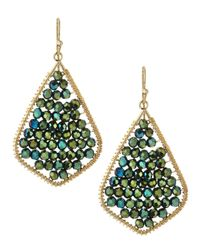 Nakamol - Green Crystal Beaded Feather Earrings Emerald - Lyst