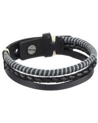 Fossil | Black Leather Multi-strand Vintage Bracelet | Lyst