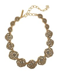 Oscar de la Renta - Metallic Gold-Plated Crystal Necklace - Lyst