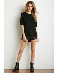 Forever 21 | Black Classic Longline Tee | Lyst