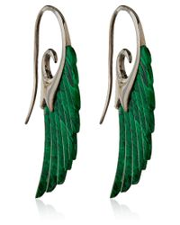 Noor Fares | Metallic Silver Green Malachite Wing Earrings | Lyst