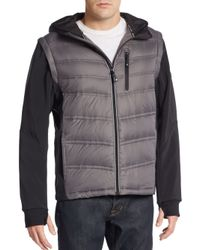 MICHAEL Michael Kors | Gray Quilted Hooded Vest for Men | Lyst