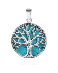 Aeravida - Blue Mystical Tree Of Life Green Turquoise Inlay .925 Sterling Silver Pendant - Lyst