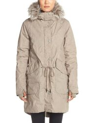 Bench | Gray 'big Timer' Insulated Parka With Faux Fur Trim | Lyst