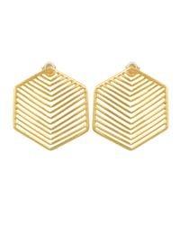 Kastur Jewels - Metallic Art Deco Heritage Hexagon Earrings - Lyst