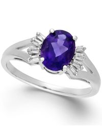 Macy's | Amethyst (1-1/5 Ct. T.w.) And Diamond (1/8 Ct. T.w.) Ring In 14k White Gold | Lyst
