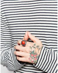 ASOS - Orange Embellished Ring With Semi-precious Stone In Silver for Men - Lyst